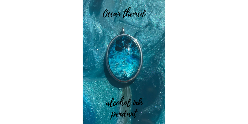 Ocean themed alcohol ink resin pendant