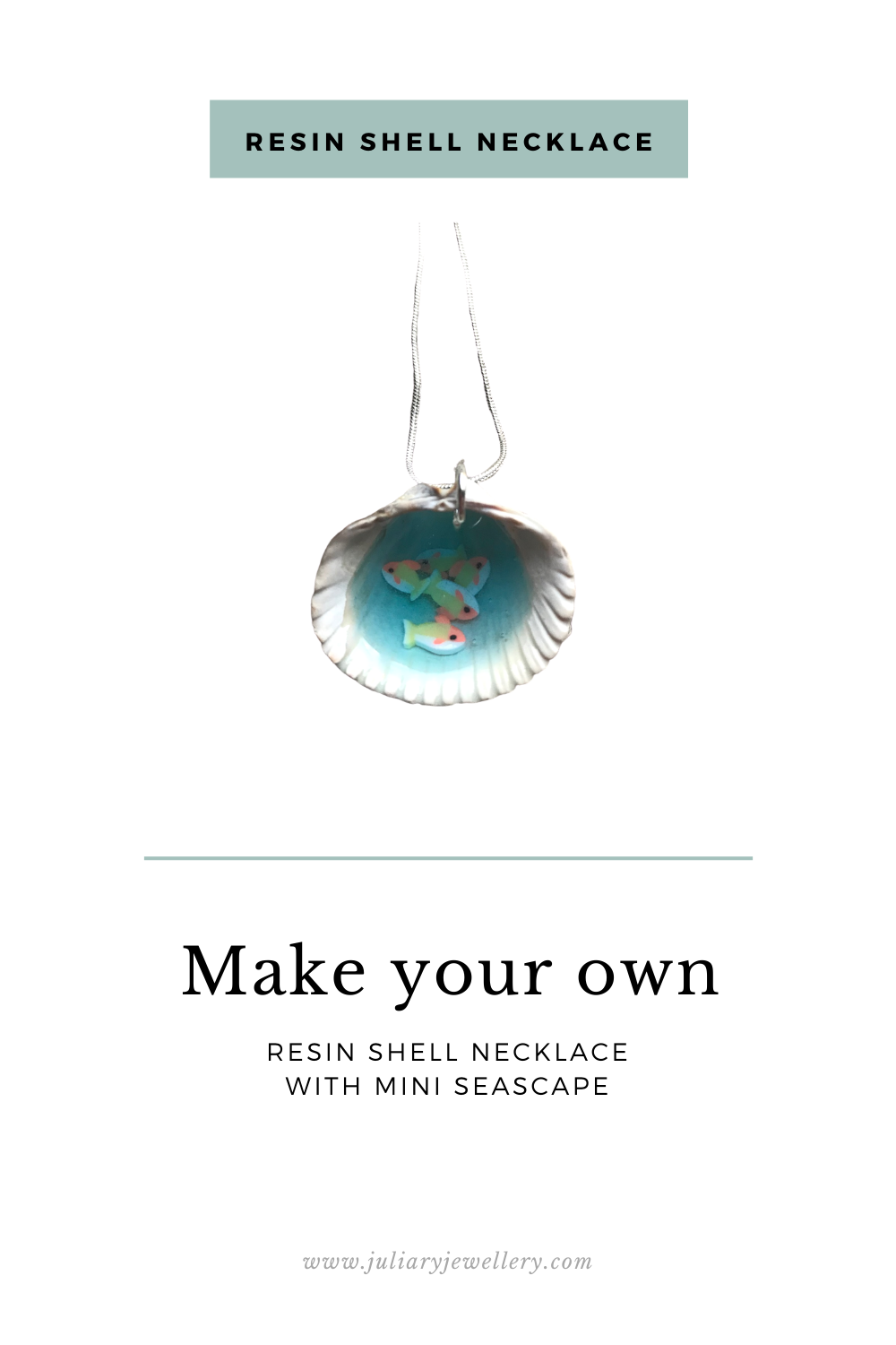 Make your own seascape necklace with resin and ashell
