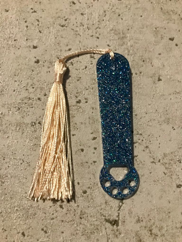 Glitter paw print resin bookmark