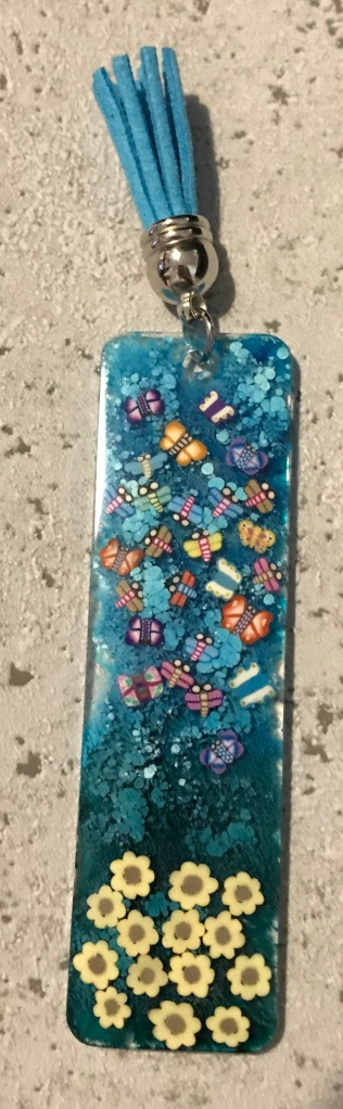 Alcohol ink and polymer clay resin bookmark