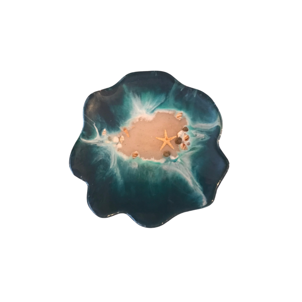 Island seascape place mat with sand, and white and blue resin