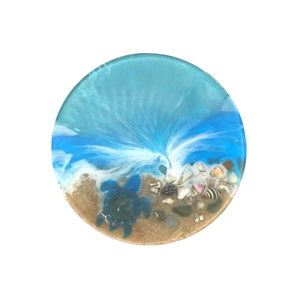 Seascape coaster with shells and a mini resin turtle