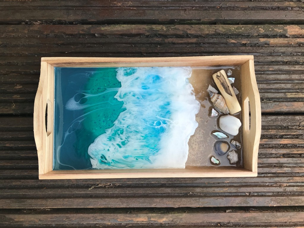 Serving tray with a resin beach scene