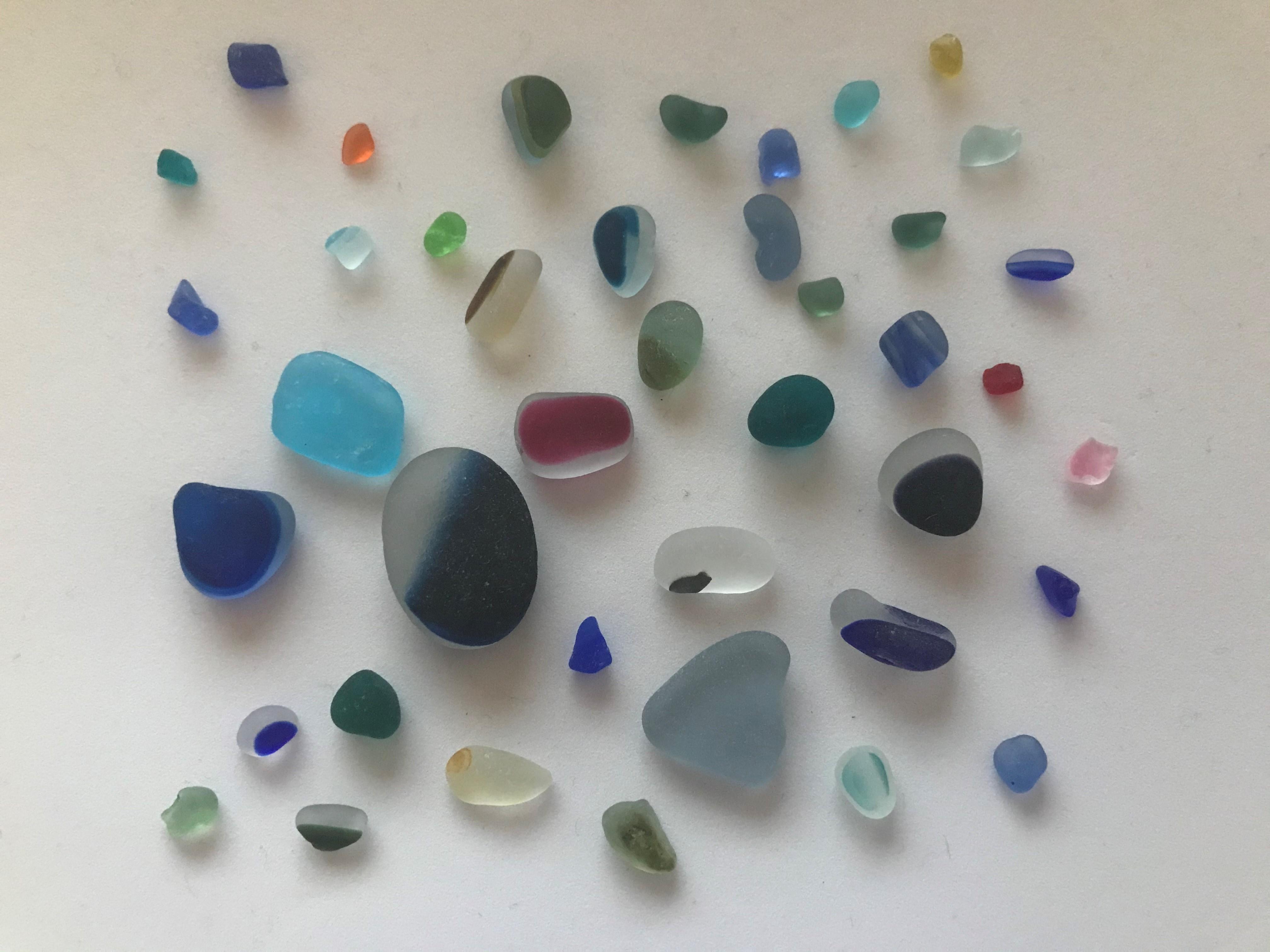 Multicoloured sea glass from Seaham