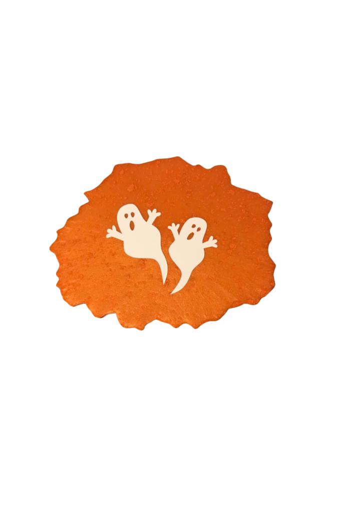 Orange resin ghost coaster
