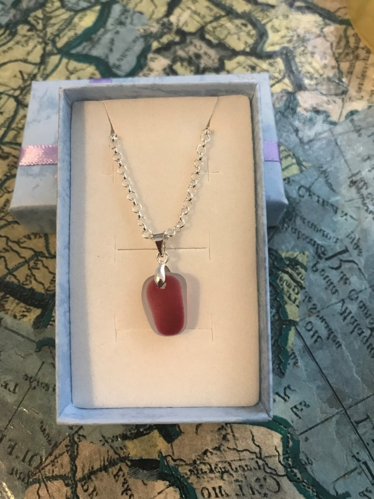 Pink Red Sea glass necklace