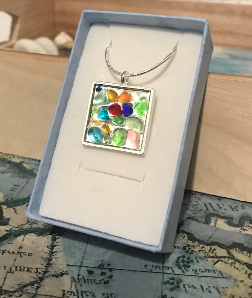 Resin sea glass necklace