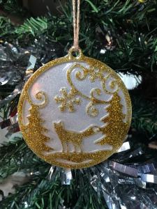 Resin winter scene Christmas tree decoration