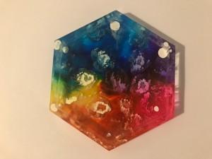 Resin rainbow alcohol ink coaster