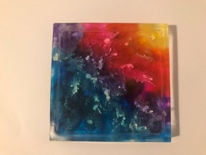 Square rainbow resin alcohol ink coaster