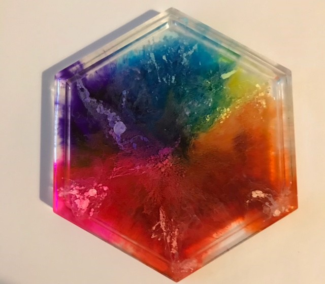 Resin and alcohol ink rainbow coasters