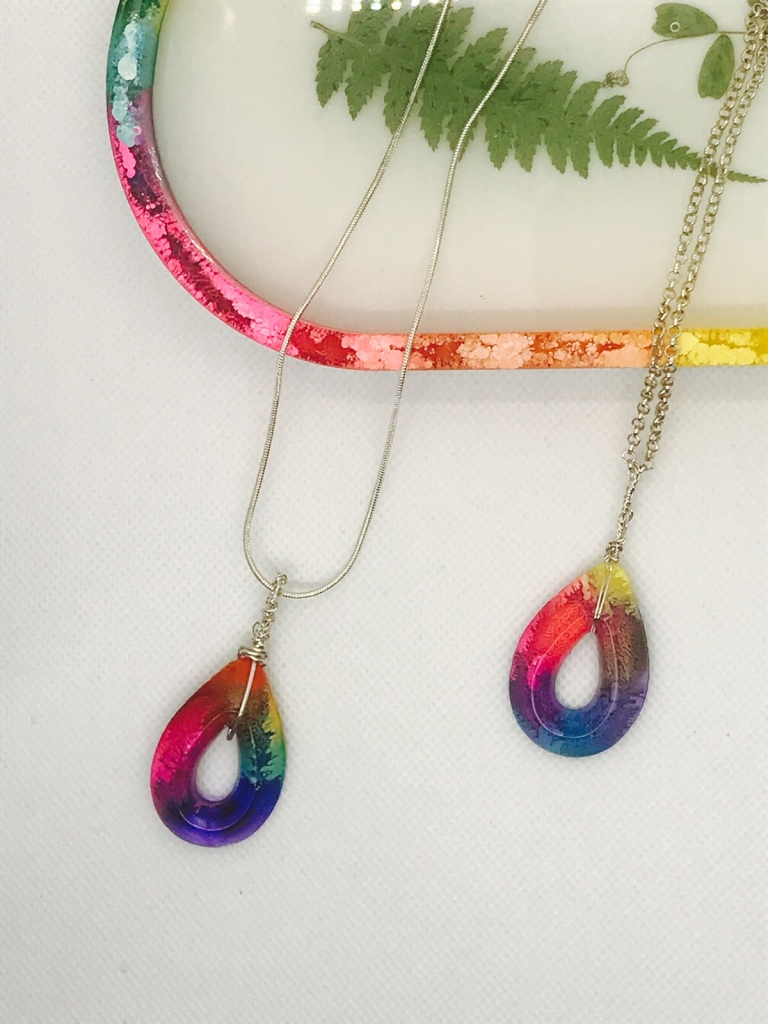 Alcohol ink resin rainbow necklaces