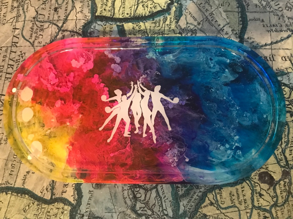 Alcohol ink rainbow resin mini tray with vinyl rhythmic gymnasts